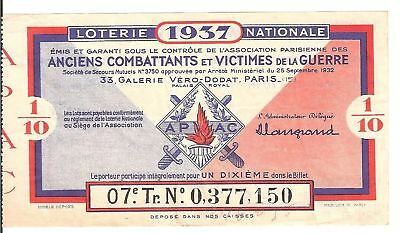 Loterie Nationale - Anciens Combattants Victimes 1937