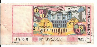 LOTERIE NATIONALE - TRANCHE SPECIALE XXVe ANNIVERS 1958