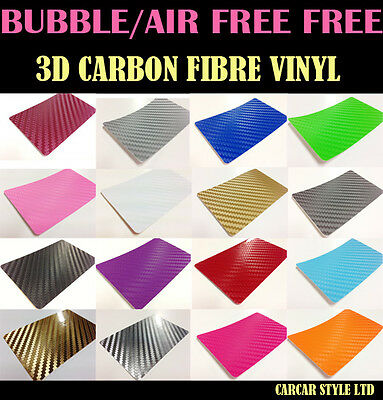 3D Carbon Fibre Vinyl Wrap Film Sheet Sticker Textured Air/Bubble free MultiSize