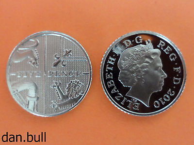 2010: Royal Coat of Arms PROOF 5p Coin: 5 Pence