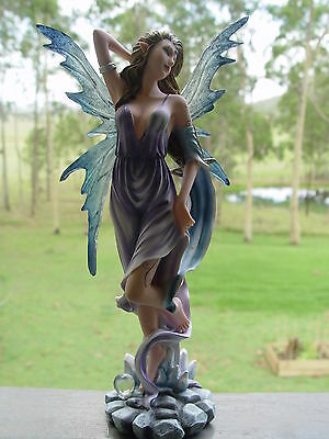 STATUE: FAIRY ELEMENTAL GODDESS OF AIR 304 mm - Wicca Witch Pagan Goth Altar