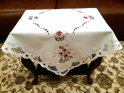 """Embroidered Pink Flower Embroidery Fabric Tablecloth 36x36"""" Elegant Linen #570"""