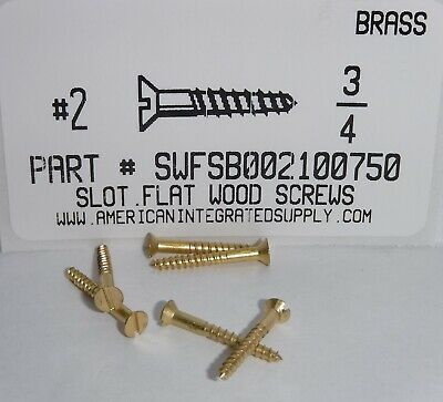#2x3/4 Flat Head Slotted Wood Screws Solid Brass (100)