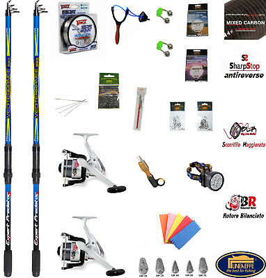 2 Canne Da Pesca Surf Casting - Per Surfcasting - Carbonio - Kit Accessori