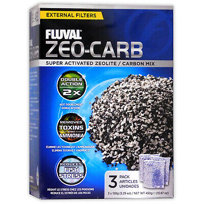 HAGEN FLUVAL ZEO-CARB EXTERNAL FILTER MEDIA 450G 3x150g