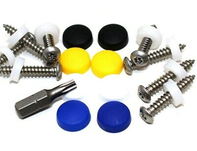 "17 Pce Number Plate Security Screw Kit, 1"" Pin Torx Security Screws & Dome Caps"