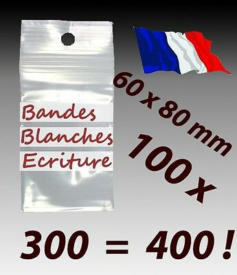 LOT 100  sachets  plastique zip 3 bandes 60x80 6x8