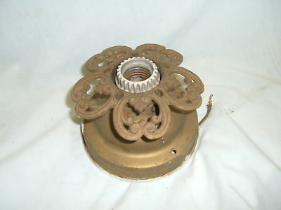 Antique Decorative Shabby Cast Iron Chic Ceiling Vtg Light Fixture 4307