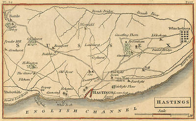 MAP Hastings, East Sussex, England 1810 Port Battle/English Channel Hand-colored