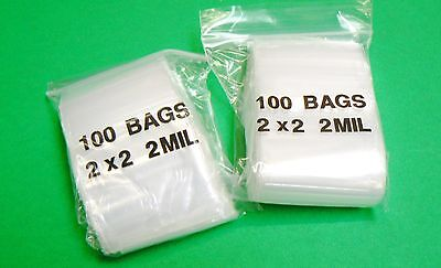 "200 ZIPLOCK BAGS 2x2 POLY BAG 2MIL CLEAR ZIP LOCK RECLOSABLE BAGGIES 2"" x 2"""