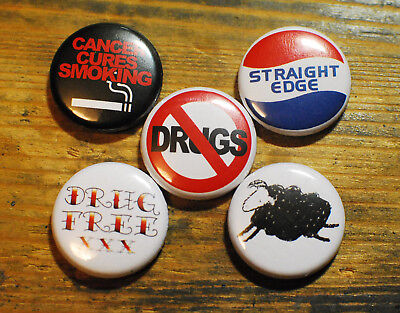 "5 STRAIGHT EDGE BUTTONS hardcore minor threat 1"" PINS"
