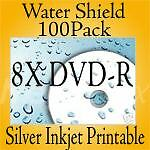 8X DVD-R Water-Shield Silver Inkjet Printable 100 Pack