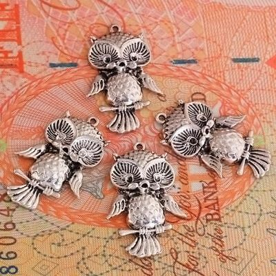 Wholesale 9pcs Cute Style Carved Owl Tibetan Silver Copper Pendant Beads Kf285