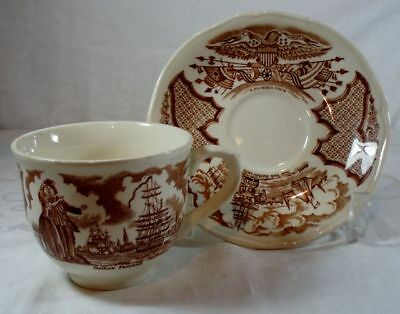 Alfred Meakin Fair Winds-Brown Cup and Saucer