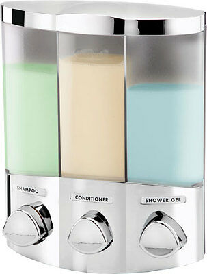 Croydex Euro Trio 3 Chambers Chrome Wall Mounted Triple Shampoo Soap Dispenser