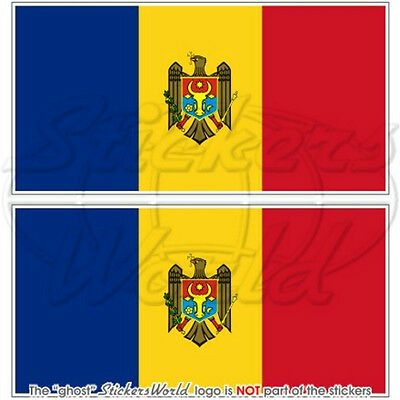 "MOLDOVA Moldovan Flag 3""(75mm) Decal Bumper Stickers x2"