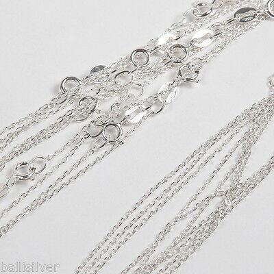 "10 pieces 18"" 45cm Sterling Silver 925 Diamond Cut Fine CABLE ANCHOR Chains Lot"
