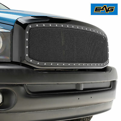 06-09 Dodge Ram Rivet Black Stainless Steel Wire Mesh Grille W/ Shell Replace