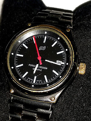 Orologio Rare Watch Pd Porsche Black Pvd Design Vintage Old By Swiss Made