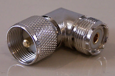 RIGHT ANGLE PL259 MALE to S0239 FEMALE ELBOW ADAPTOR UHF PLUG CONNECTOR