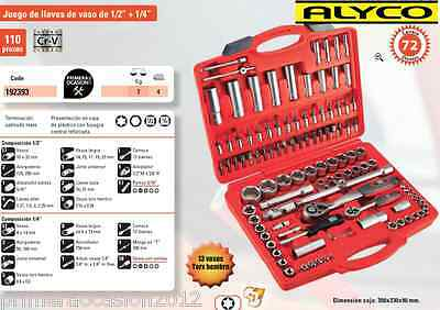 "Maletin carracas y vasos HR ALYCO 110 piezas 1/2"" y 1/4""-Carracas de 72 dientes-"