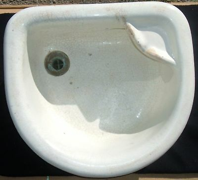 Vintage Earthenware Bathroom Sink Glazed Vessel 6 of 7