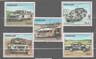 Paraguay stamp set MNH rally cars Michel 4136 - 40 Sc 2223-4