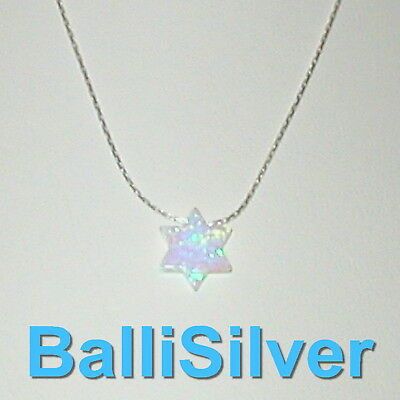 WHITE OPAL STAR of DAVID Charm + Sterling Silver 925 Fine CHAIN