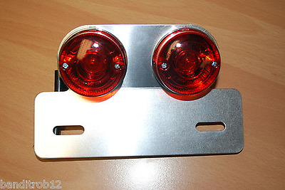 Twin Round Motorcycle Rear & Brake Light Streetfighter Cafe Racer E-Marked
