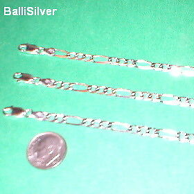 3 Genuine Sterling Silver 925 5mm FIGARO BRACELETS Lot