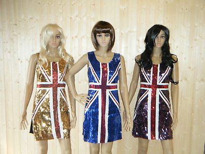 3 Colours Union Jack England Flag Bling Sequin Dress Costume Size  8-12 Ukseller