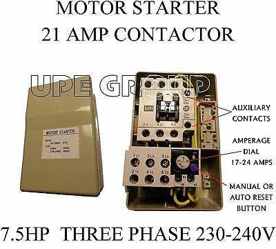 magnetic motor starter control for electric motor hp phase  magnetic motor starter control for electric motor 7 5 hp 3 phase 208 240vac 21a