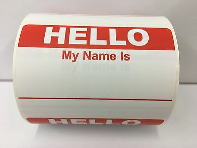 """RED Hello My Name Is Badge Tag Identification Labels (31/2""""x2-3/8"""", 300/Roll)"""