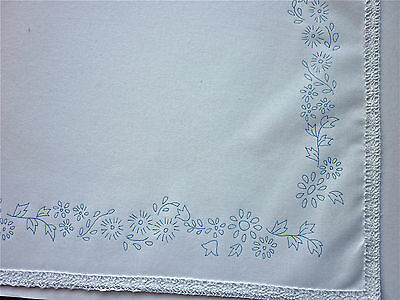 Ready to embroider Tray Cloth Flowers with Lace edge CSOO50