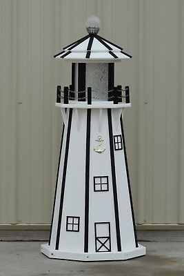 4' Octagon Electric and Solar Powered Poly Wood Lighthouses (White/black trim)