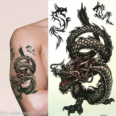 Large Mens Boys Angry Black Chinese Dragon Temporary Tattoos Many Designs Uksell