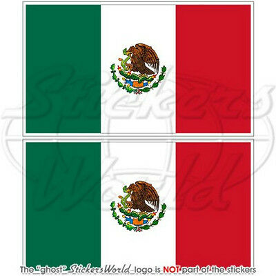 "MEXICO Mexican Flag 3"" (75mm) Decals Bumper Stickers x2"