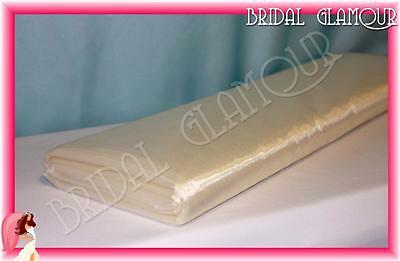 DARK IVORY 1.4m x 36m Organza Bolt Large Roll Shimmering Wedding Fabric Tulle