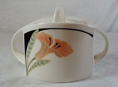 Villeroy and Boch Iris Peach/Black Sugar Bowl with Lid