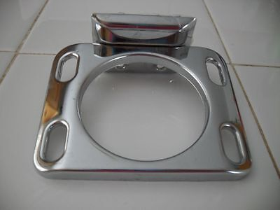 Vintage NOS EKCO CHROME Steel Cup / Glass & Toothbrush Holder Wall Mount Style