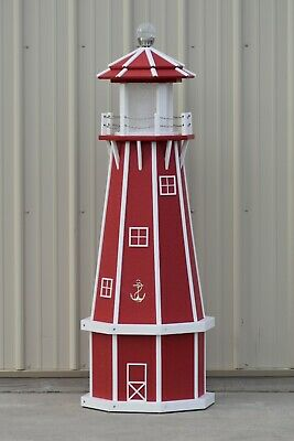 5' Octagon Electric and Solar Powered Poly wood Lighthouse,  Red and White