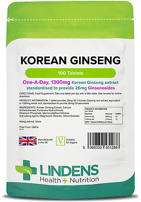 Korean Ginseng (panax) 1300mg -energy boost- (100 tablets) [Lindens 1288]