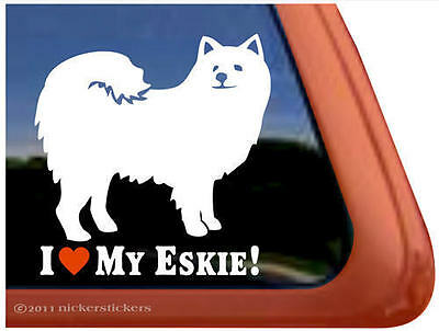 LOVE MY ESKIE American Eskimo Dog Window Sticker Decal