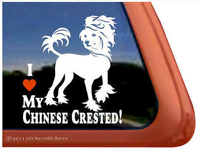 I LOVE MY CHINESE CRESTED Dog Auto Window Decal Sticker