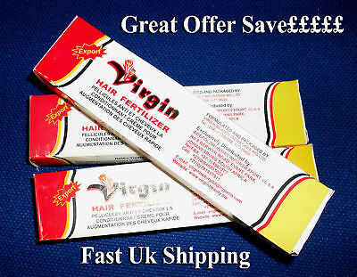VIRGIN HAIR FERTILIZER X-LARGE 125G X 3Pcs-Tubes ON Special OFFER** Save £££ss