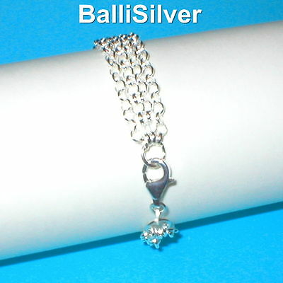 3 pieces Sterling Silver 925 3.2mm ROLO Chain 4 STRAND BRACELETS Wholesale Lot