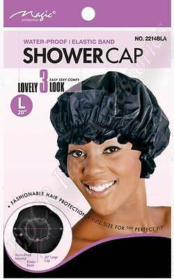 Thick Strong Shower Cap With Elastic Band *Water Proof* Large #2214BLK THE BEST*