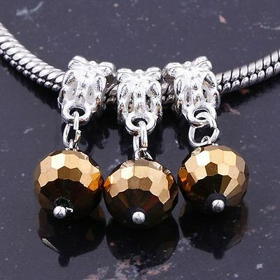 Fashion Chocolate Color Faceted Ball Golden Tone Crystal Dangle Charm Beads 10pc
