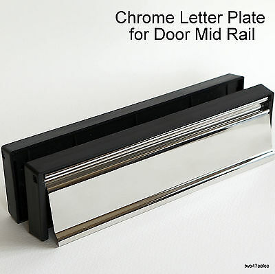 12 inch MIRROR POLISH CHROME Stainless Letter Box Plate Letterbox uPVC Door MID