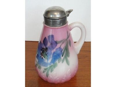 Victorian Opaline Painted Glass Syrup Pitcher